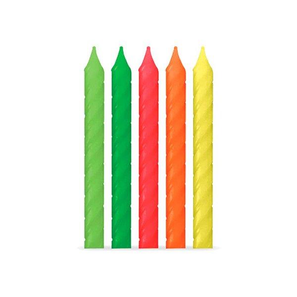 Velas Palito Espiral Neon - 10 un - Silver Festas