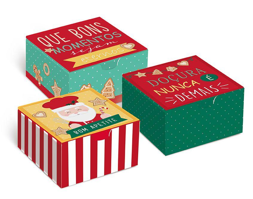 Caixa Divertida para Brigadeiros Noel Chef - 10 unidades - Cromus Natal - Rizzo Embalagens