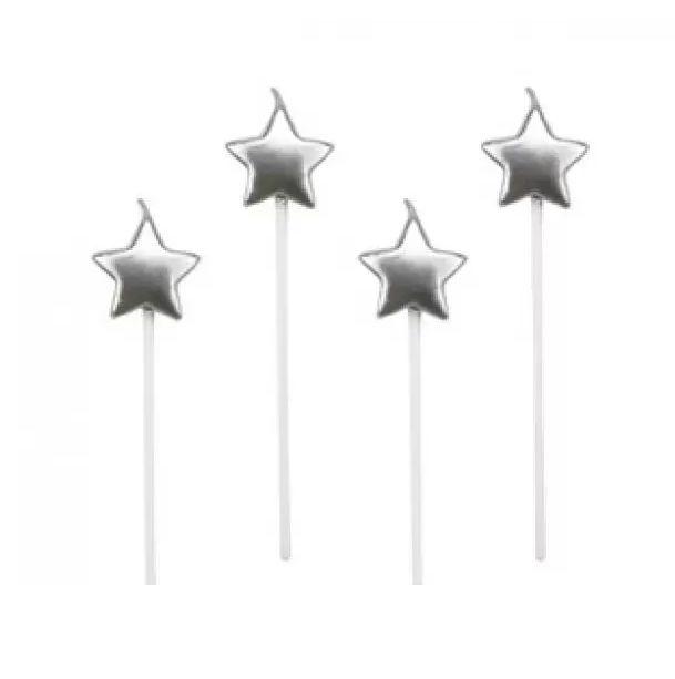 Velas estrelas prata - 4 un -  14 cm - Silver Festas