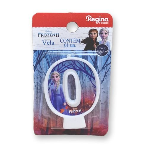 Vela Festa Frozen Número 0 - 01 unidade - Regina - Rizzo Festas