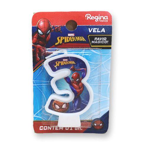 Vela Festa Spider Man Número 3 - 01 unidade - Regina - Rizzo Festas
