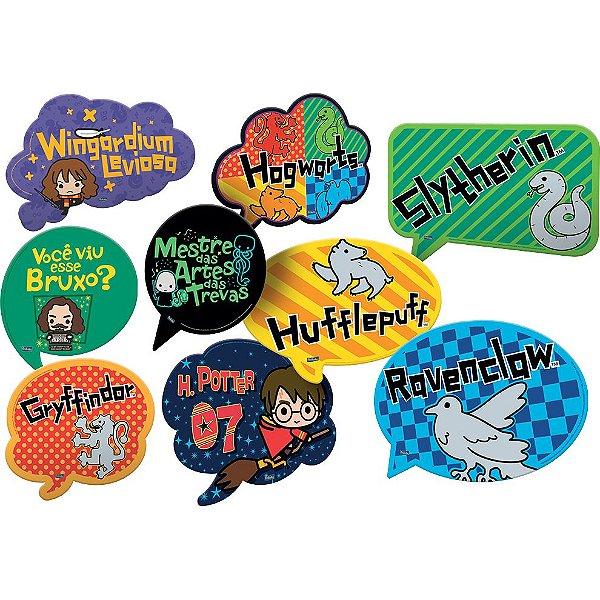 Kit Plaquinhas Divertidas Festa Harry Potter Kids - 09 unidades - Festcolor - Rizzo Festas