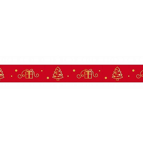 Fita de Natal em Cetim Vermelha Árvore e Presentes  ECF003H 364- 15mm x 10m - Progresso