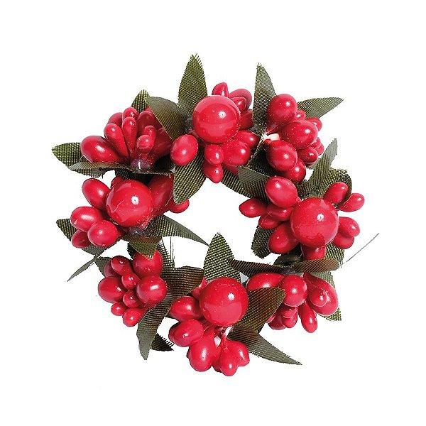 Mini Guirlanda Frutos Vermelhos e Folhas Verdes 6cm - 01 unidade - Cromus Natal - Rizzo Embalagens