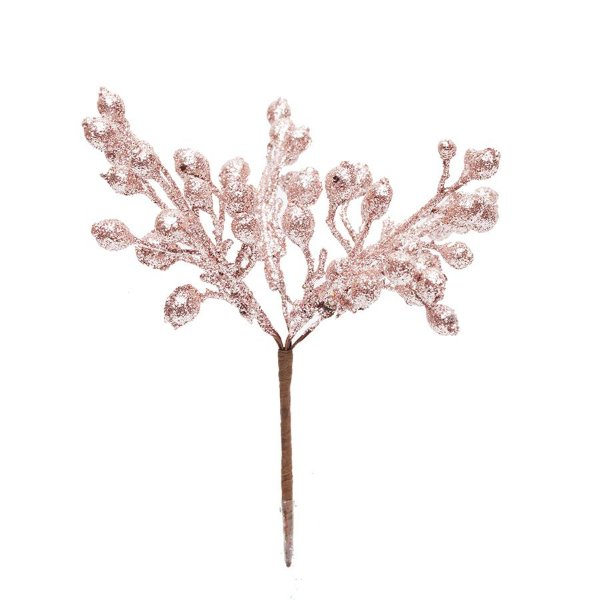Pick Galho Glitter Rose Gold 15cm - 01 unidade - Cromus Natal - Rizzo Embalagens