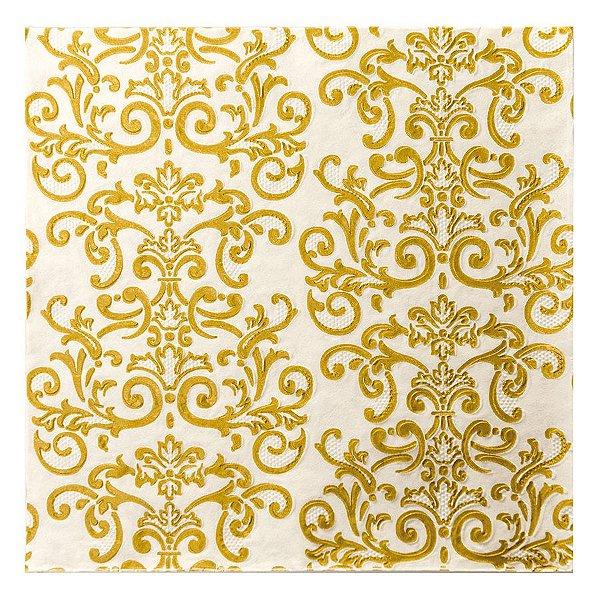 Guardanapo de Papel Branco com Arabesco Ouro 33cm - 20 folhas - Cromus Natal - Rizzo Embalagens
