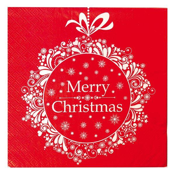 Guardanapo Vermelho Merry Christmas 32,5cm - 20 folhas - Cromus Natal - Rizzo Embalagens