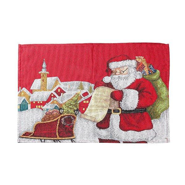 Jogo Americano Noite Natalina Vermelho 35cm - 01 unidade - Cromus Natal - Rizzo Embalagens