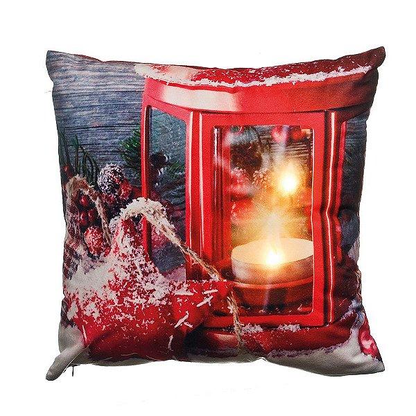 Almofada Lanterna Vermelha com Led 35cm - 01 unidade - Cromus Natal - Rizzo Embalagens