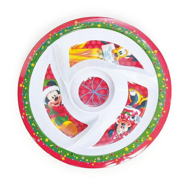 Petisqueira Melamina com Divisórias 40cm - 01 unidade Natal Disney - Cromus - Rizzo Embalagens