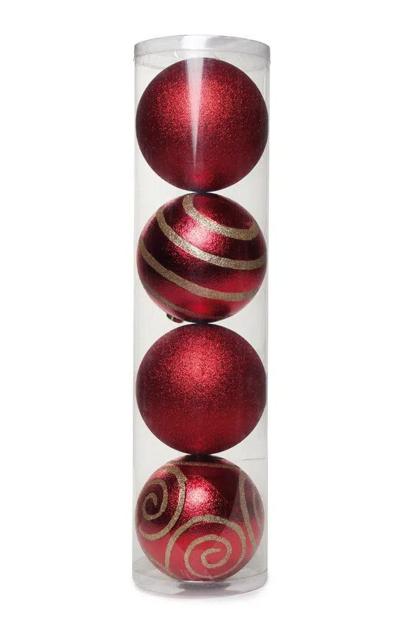 Bola com Arabesco Vermelho e Ouro 15cm - 04 unidades - Cromus Natal - Rizzo Embalagens