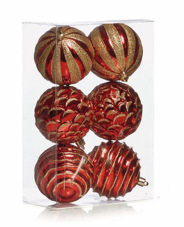 Bolas Sortidas Vermelho e Ouro 8cm - 06 unidades - Cromus Natal - Rizzo Embalagens