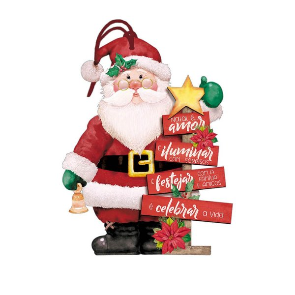 Decor Home Tag Natal - Papai Noel - DHTN-023 - LitoArte - Rizzo Embalagens