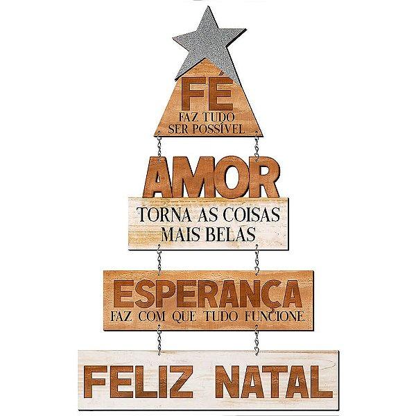Placa Decorativa em MDF - Decor Home Natal - Fé Faz Tudo Ser Possível- DHN-035 - LitoArte - Rizzo Embalagens