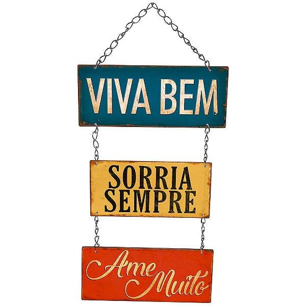 Placa Decorativa em MDF - Viva Bem, Sorria Sempre- DHPM5-230 - LitoArte - Rizzo Embalagens