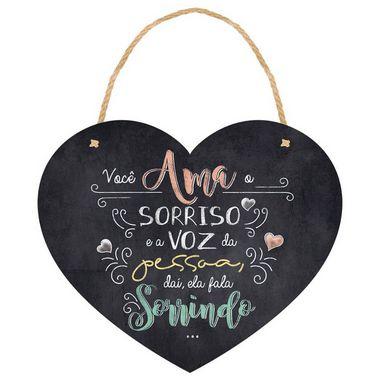 Placa Decorativa em MDF - Coração Você Ama - DHPM5-187 - LitoArte - Rizzo Embalagens
