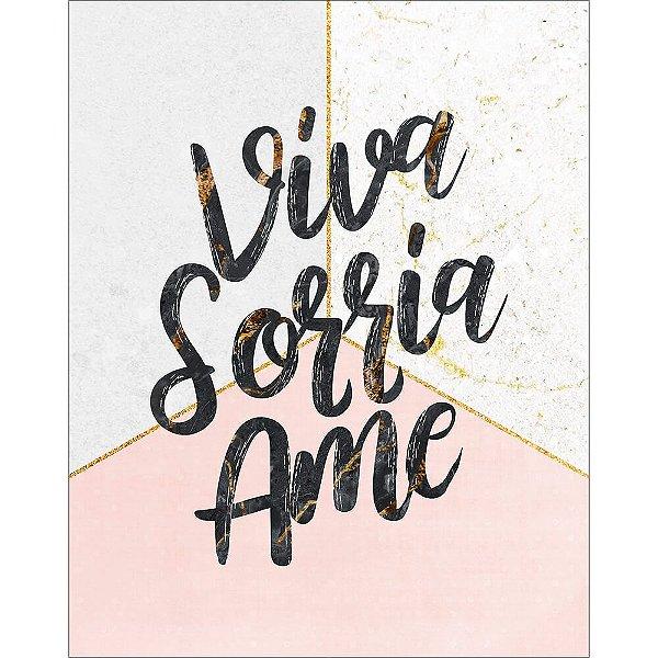 Placa Decorativa em MDF - Viva, Sorrie, Ame - DHPM-461 - LitoArte - Rizzo Embalagens