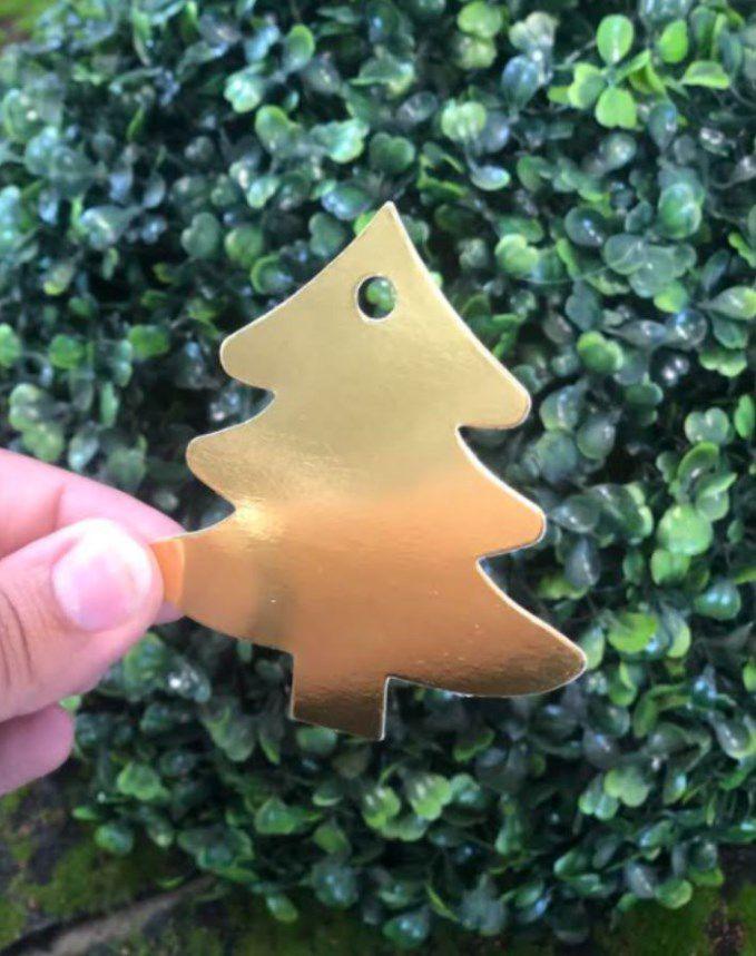 Tag Árvore de Natal Dourado - 10 unidades - Rizzo Embalagens