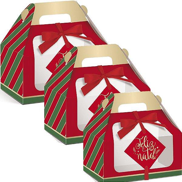 Caixa Maleta Kids com Visor Listras Natal Clássico - 10 unidades - Cromus - Rizzo Embalagens