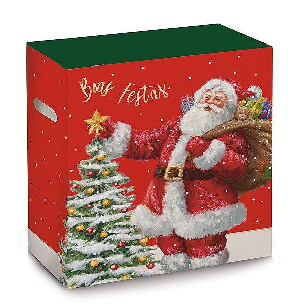Caixa para Cesta de Natal - Noite Mágica - 30x19x38cm - 01 unidade - Cromus Natal - Rizzo Embalagens