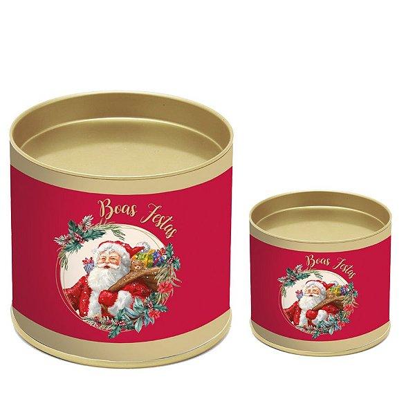 Lata para Panetone Papai Noel - 01 unidade - Cromus Natal - Rizzo Embalagens