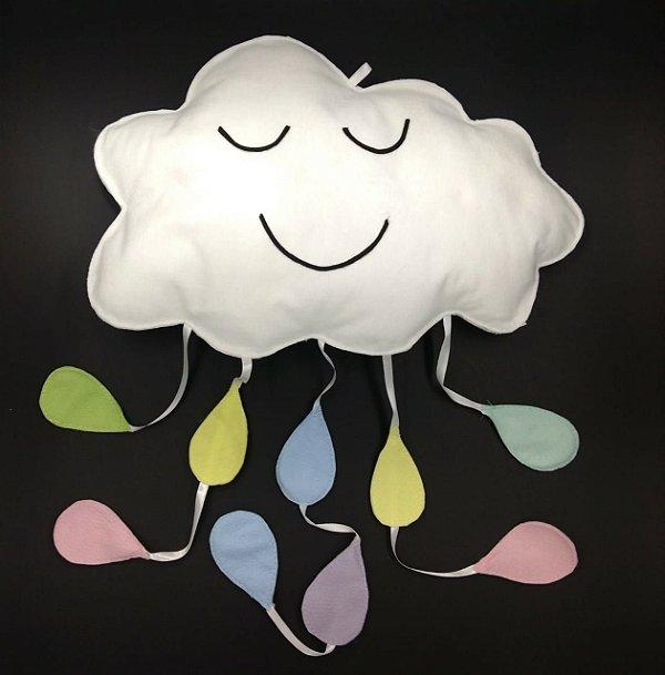 Nuvem Decorativa com Gotas em Feltro G - 01 unidade - Pé de Pano - Rizzo Embalagens