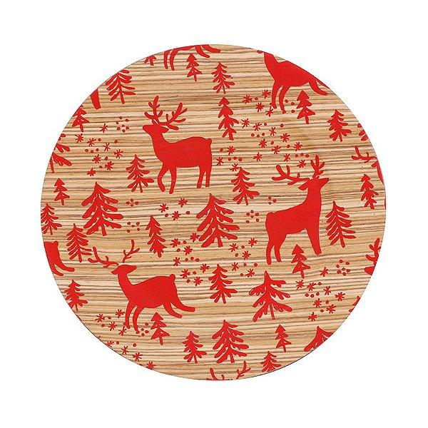 Sousplat Estampado Rena Bege e Vermelho 33cm - 01 unidade - Cromus Natal - Rizzo Embalagens