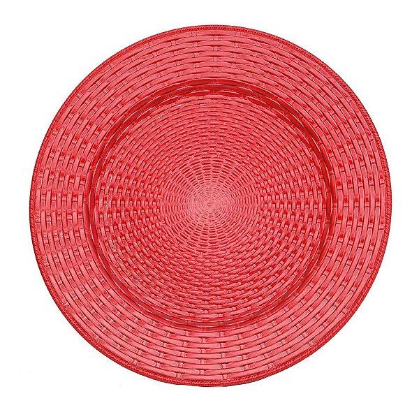 Sousplat Trançado Vermelho 33cm - 01 unidade - Cromus Natal - Rizzo Embalagens