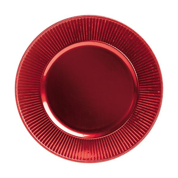 Sousplat com Borda Listrada Vermelho 33cm - 01 unidade - Cromus Natal - Rizzo Embalagens