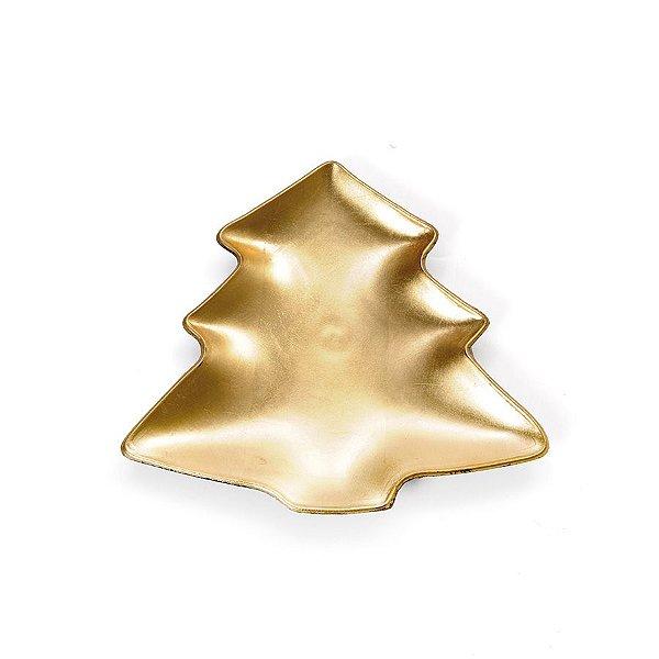 Sousplat Pinheiro Ouro P 21cm - 01 unidade - Cromus Natal - Rizzo Embalagens