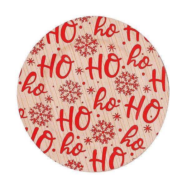 Sousplat HoHoHo Bege e Vermelho 33cm - 01 unidade - Cromus Natal - Rizzo Embalagens