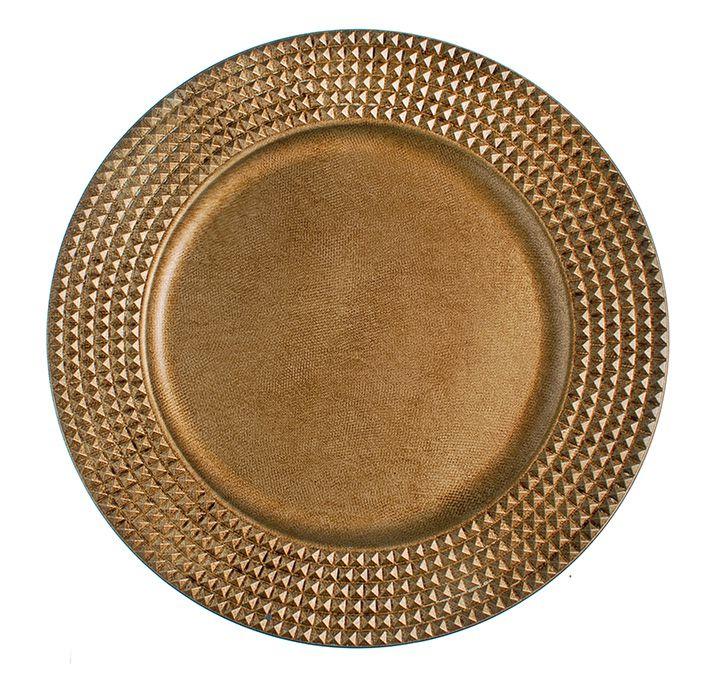 Sousplat Tecido com Borda Quadriculada Ouro 33cm - 01 unidade - Cromus Natal - Rizzo Embalagens