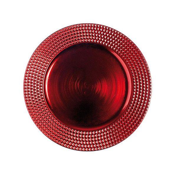 Sousplat Tecido com Borda Quadriculada Vermelho 33cm - 01 unidade - Cromus Natal - Rizzo Embalagens