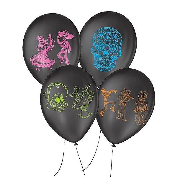 """Balão de Festa Decorado Dia de Los Muertos - Preto e Colorido 9"""" 23cm - 25 Unidades - São Roque - Rizzo Balões"""