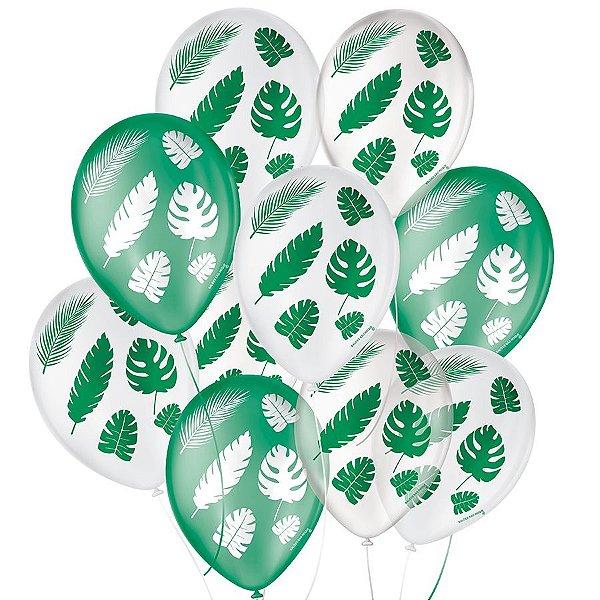 """Balão de Festa Decorado Folha Tropical - Sortido 9"""" 23cm - 25 Unidades - São Roque - Rizzo Balões"""