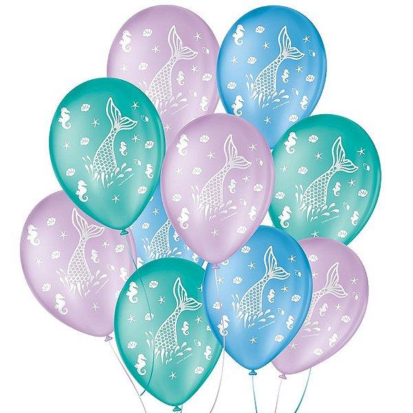 """Balão de Festa Decorado Fundo do Mar - Sortido 9"""" 23cm - 25 Unidades - São Roque - Rizzo Balões"""