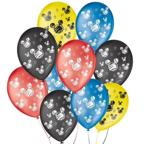 """Balão de Festa Decorado Orelha de Rato Mickey - Sortido 9"""" 23cm - 25 Unidades - São Roque - Rizzo Balões"""