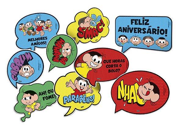 Kit Plaquinhas Divertidas Festa Turma da Mônica - 09 unidades - Festcolor - Rizzo Festas