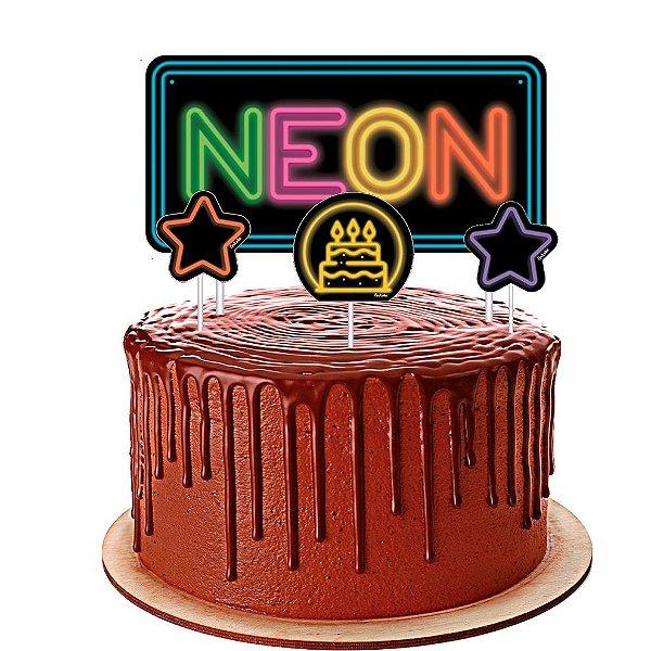 Topo De Bolo Festa Neon 03 unidades - Festcolor - Rizzo Festas