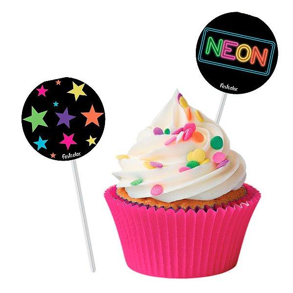 Pick p/ Docinhos Festa Neon - 8 unidades - Festcolor - Rizzo Festas