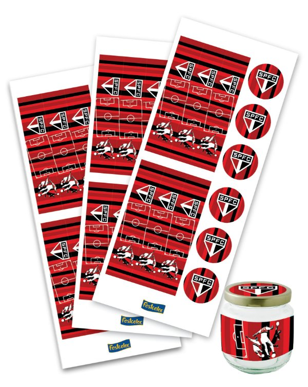 Adesivo para Lembrancinhas Festa São Paulo - 36 unidades - Festcolor - Rizzo Festas