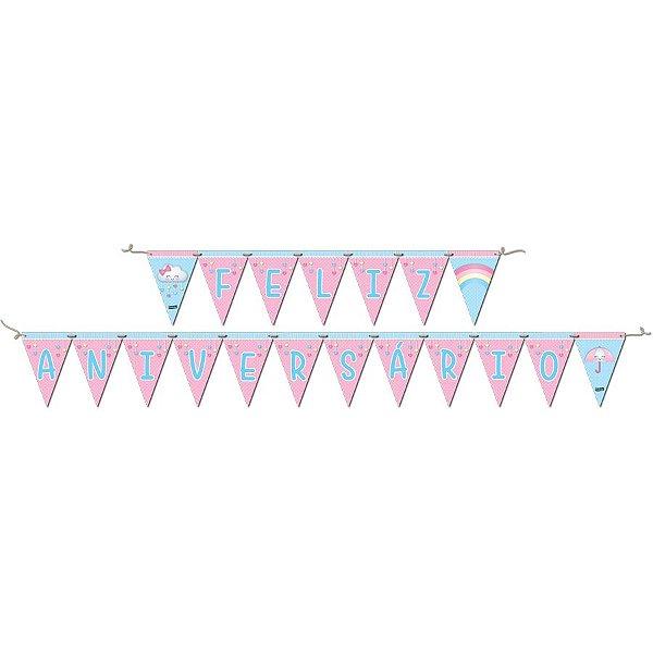 Faixa Feliz Aniversário Festa Chuva de Amor - Festcolor - Rizzo Festas