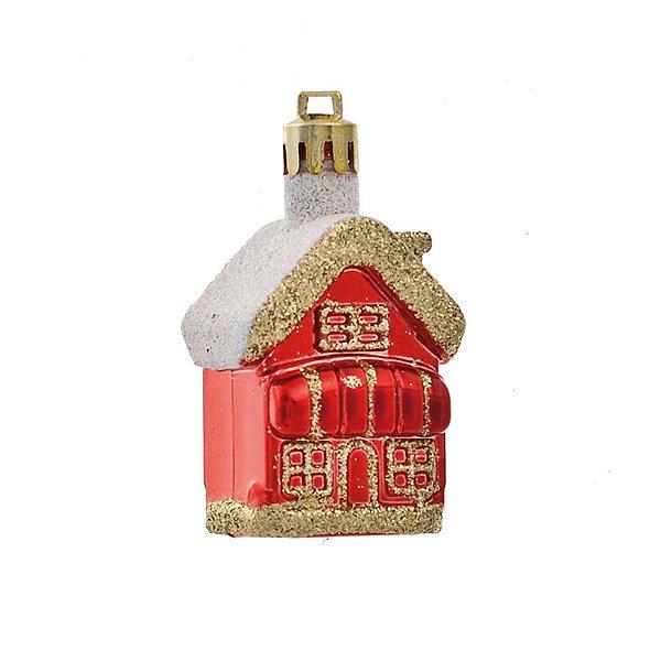 Enfeite para pendurar Casinha Sobrado Vermelho - 04 unidades - Cromus Natal - Rizzo Embalagens