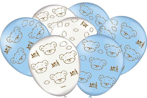 Balão Festa Ursinho Azul - 25 unidades - Festcolor - Rizzo Festas