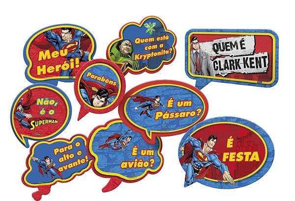 Kit Plaquinhas Divertidas Festa Superman - 09 unidades - Festcolor - Rizzo Festas