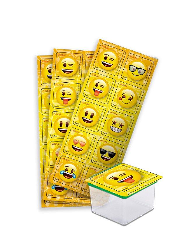 Adesivo Quadrado Decorativo Festa Festa Emoji - 30 unidades - Festcolor - Rizzo Festas