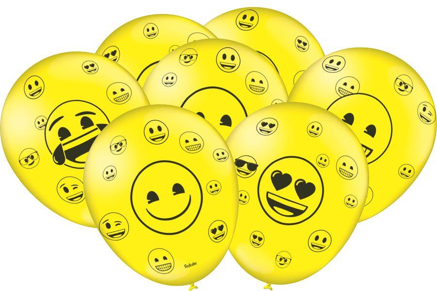 Balão Festa Emoji - 25 unidades - Festcolor Festas - Rizzo Embalagens