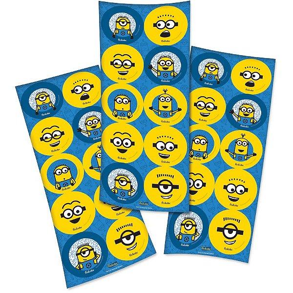 Adesivo Redondo para Lembrancinha Festa Minions - 30 unidades - Festcolor - Rizzo Embalagens e Festas