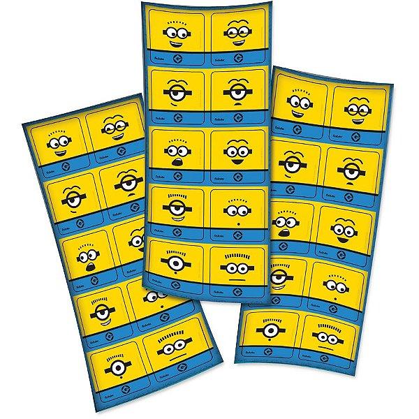 Adesivo Quadrado Decorativo Festa Festa Minions - 30 unidades - Festcolor - Rizzo Festas
