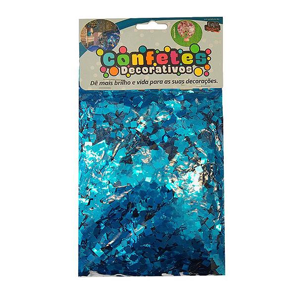 Confete Mini Picadinho Metalizado 25g - Azul Celeste Dupla Face - Rizzo Embalagens